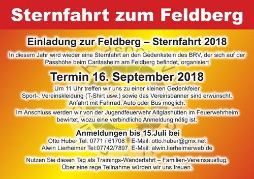 Meldefrist verlängert!! Sternfahrt zum Gedenkstein auf dem Feldberg - 16. Sept 2018