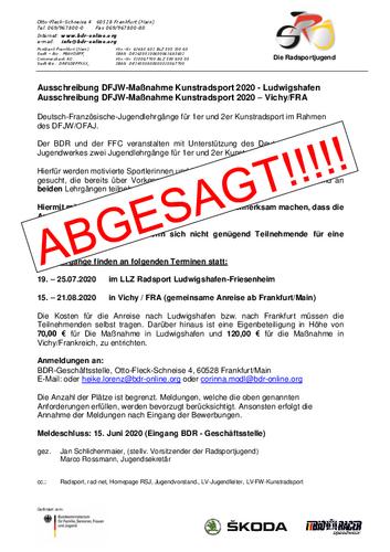 Absage Inter. Hallenradsportcamp und DFJW-Maßnahemen